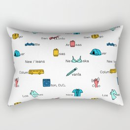 American State and City Names Rectangular Pillow