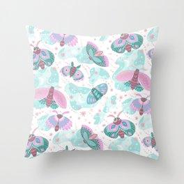 Abstract pink teal mint green cute butterflies Throw Pillow