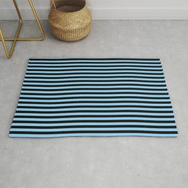 Thin Sky Blue and Black Stripes | Horizontal Thin Stripes | Rug