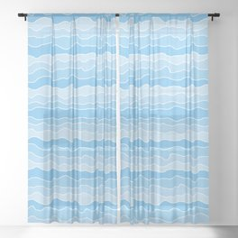 Four Shades of Turquoise with White Squiggly Lines Sheer Curtain