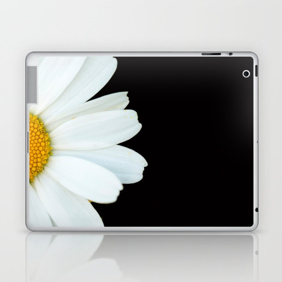 Hello Daisy - White Flower Black Background #decor #society6 #buyart Laptop & iPad Skin