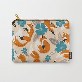 Foxes & Blooms – Tan & Blue Carry-All Pouch