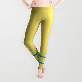 Blue-Green Yellow Minimal Sponge Stripe Pattern 2021 Color of the Year AI Aqua 098-59-30 Leggings