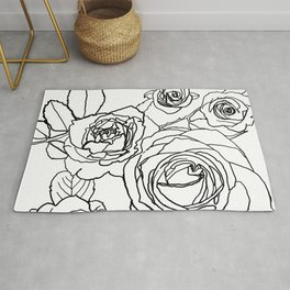 Feminine and Romantic Rose Pattern Line Work Illustration Rug