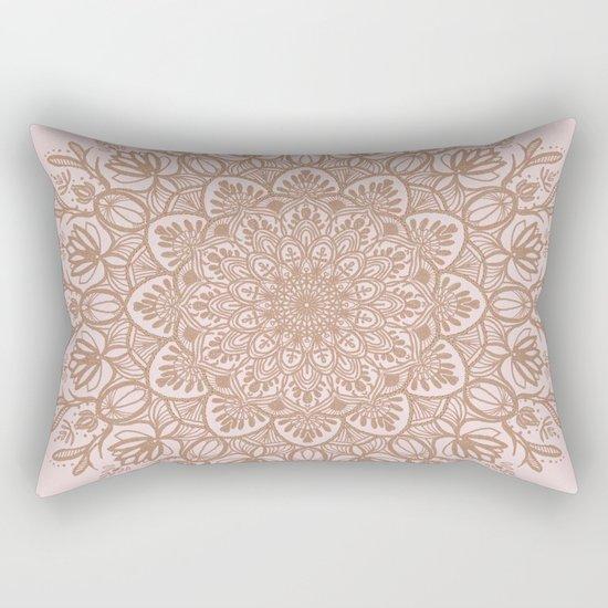 BEIGE GOLD GLITTER MANDALA Rectangular Pillow