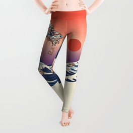The Great Wave of Dachshunds Leggings