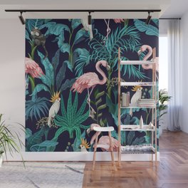 Seamless pattern with jungle trees flamingo and parrots Wall Mural