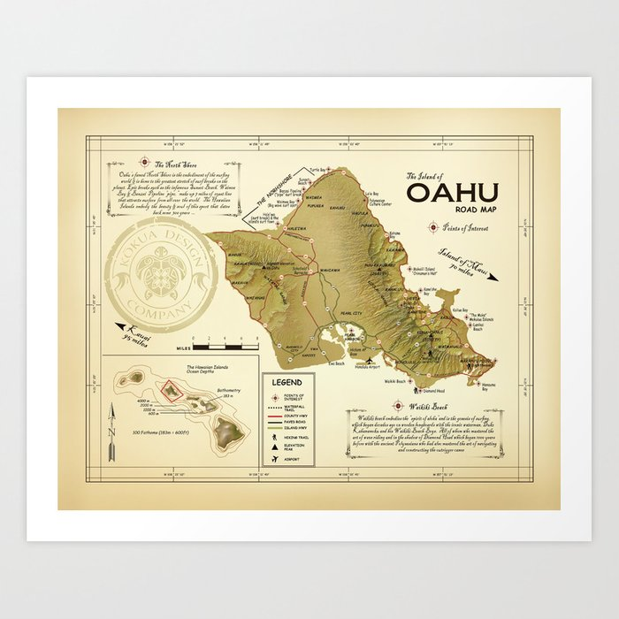 image about Printable Map of Oahu known as The Island of Oahu \