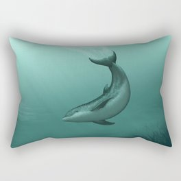 """Siren of the Lagoon"" by Amber Marine ~ Indian River Lagoon Bottlenose Dolphin Art, (Copyright 2015) Rectangular Pillow"
