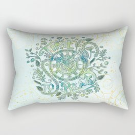 Time To Read - Watercolor Green Rectangular Pillow