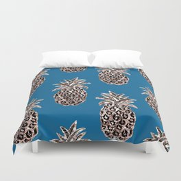 Christmas ornaments Gold Pineapples teal, Christmas decorations, Fruit, Holiday gift, Christmas gift Duvet Cover
