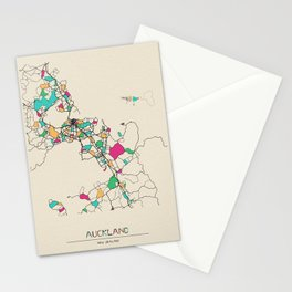 Colorful City Maps: Auckland, New Zealand Stationery Cards