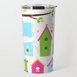 Beautiful colorful spring bird houses Travel Mug