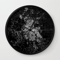 denver Wall Clocks featuring Denver map by Line Line Lines