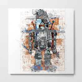 Awesome Giant Robot with Cat Metal Print