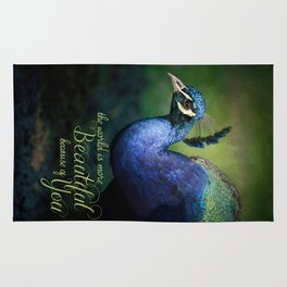 The World is More Beautiful Because of You Peacock Art Rug