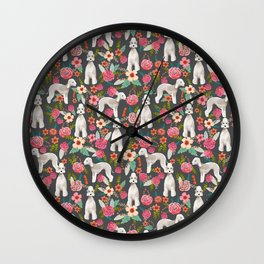 Bedlington Terrier floral dog breed gifts for unique pet lover Wall Clock