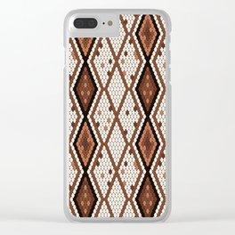 Stylized snake skin pattern Clear iPhone Case