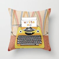 write Throw Pillows featuring write me by Asja Boros