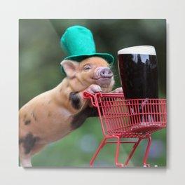 Puppy pig shopping cart Metal Print