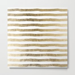 White faux gold elegant modern striped pattern Metal Print