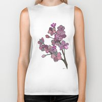 cherry blossoms Biker Tanks featuring Cherry Blossoms by Nina Gibson