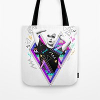 kris tate Tote Bags featuring Heart Of Glass - Kris Tate x Ruben Ireland by Ruben Ireland