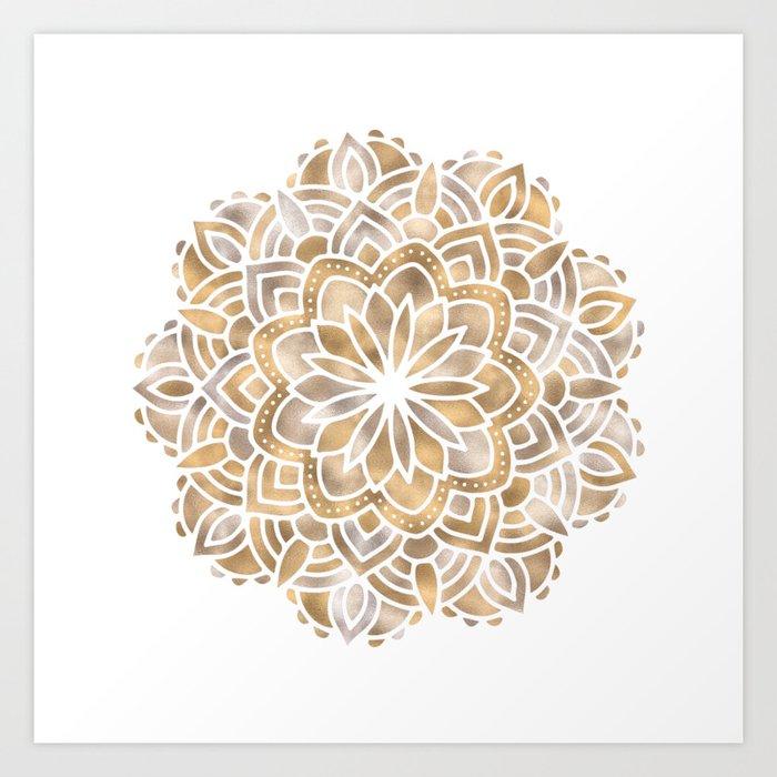 Mandala Multi Metallic in Gold Silver Bronze Copper Art Print