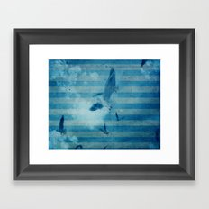 seagull in cyan Framed Art Print
