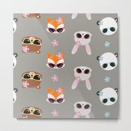 Summer Animals Animals Wearing Sunglasses Gray Metal Print