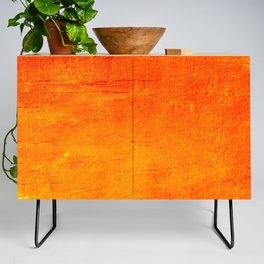 Orange Sunset Textured Acrylic Painting Credenza