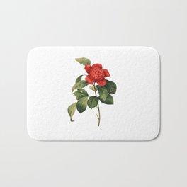 Vintage Camellia Anemoniflora | Redoute Flower - Romantic roses hand drawn illustration Bath Mat