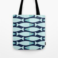 bass Tote Bags featuring Wavy Bass by Jill Byers