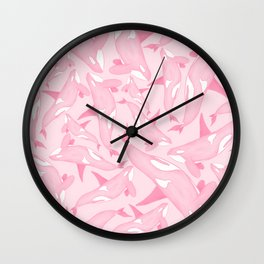 Pink Orca Pattern Wall Clock