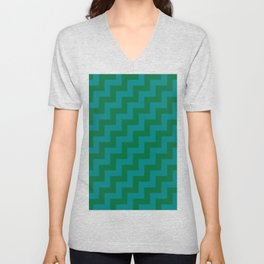 Teal Green and Cadmium Green Steps RTL Unisex V-Neck