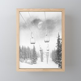 Chairlift Moon Break // Riding the Mountain at Copper Colorado Luna Sky Peeking Foggy Clouds Framed Mini Art Print