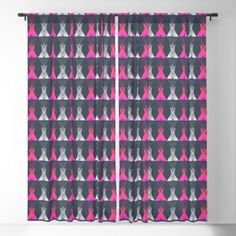 Pink Grey Native American Tipi Blackout Curtain