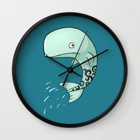 the whale Wall Clocks featuring Whale by Freeminds