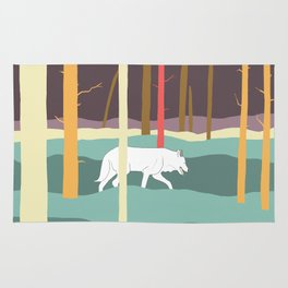 Wolf in a forest Rug