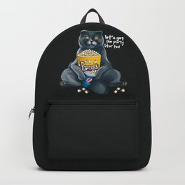 Cat with popcorn and cats drink let's get the party started   Backpack