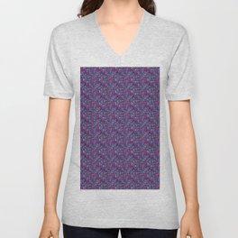 Indigo Blue, Dark Purple, Aqua and Pink Graphic Pattern. Unisex V-Neck