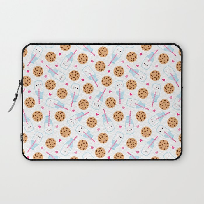 Happy Milk and Cookies Pattern Laptop Sleeve