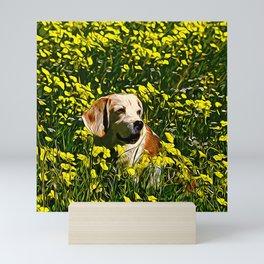 beagle dog flower field vector art Mini Art Print