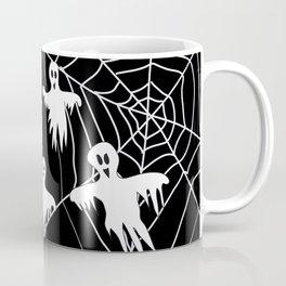 White Ghosts spider web Black background Coffee Mug