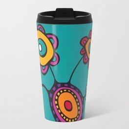 Flower Pot in Color on Teal Travel Mug