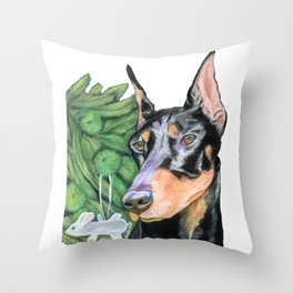 Doberman is Preparing for the Holidays Throw Pillow