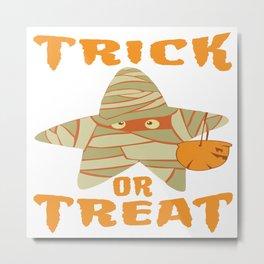 Halloween Cute Mummy Star Trick Or Treat Pumpkin Metal Print
