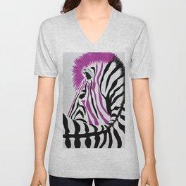 Pink Punk Rock Zebra Unisex V-Neck