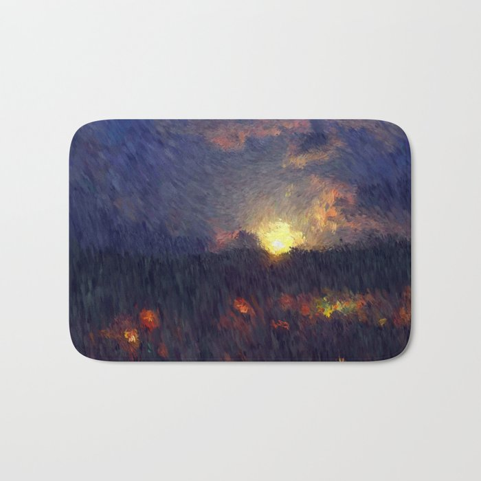 Full moon in the summer night sky Bath Mat