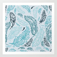Pattern with colored feathers Art Print